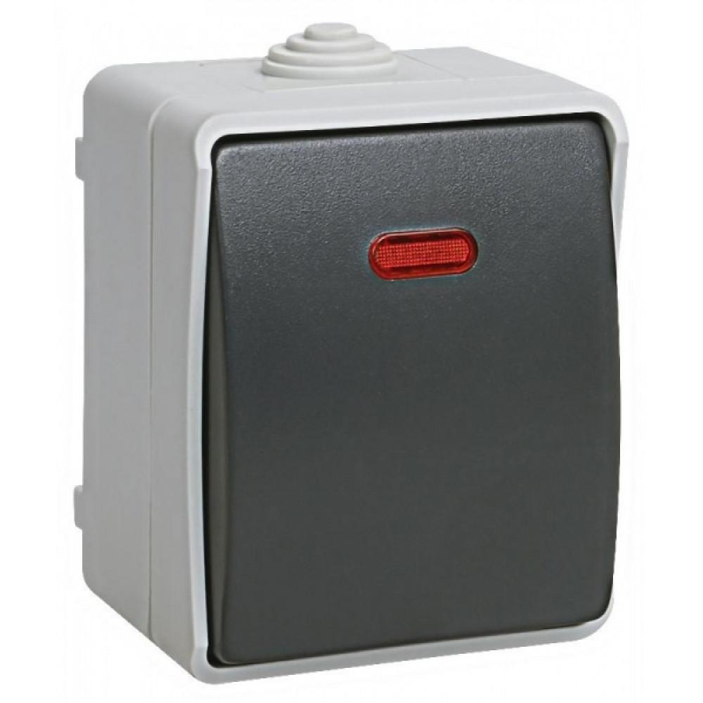 Выключатель IEK Форс 1кл. подсветка IP54 (10/100)
