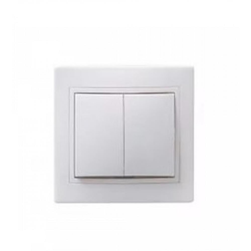 Выключатель IEK Кварта 2кл. белый керамика (10/200)