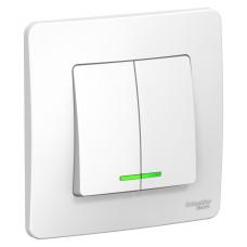 Выключатель Blanca 2-СП 6А подсветка белый (10)