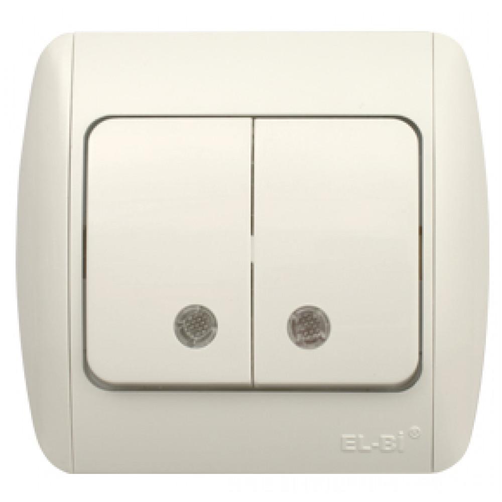 Выключатель EL-Bi ZIRVE 2кл. белый подсветка (10)