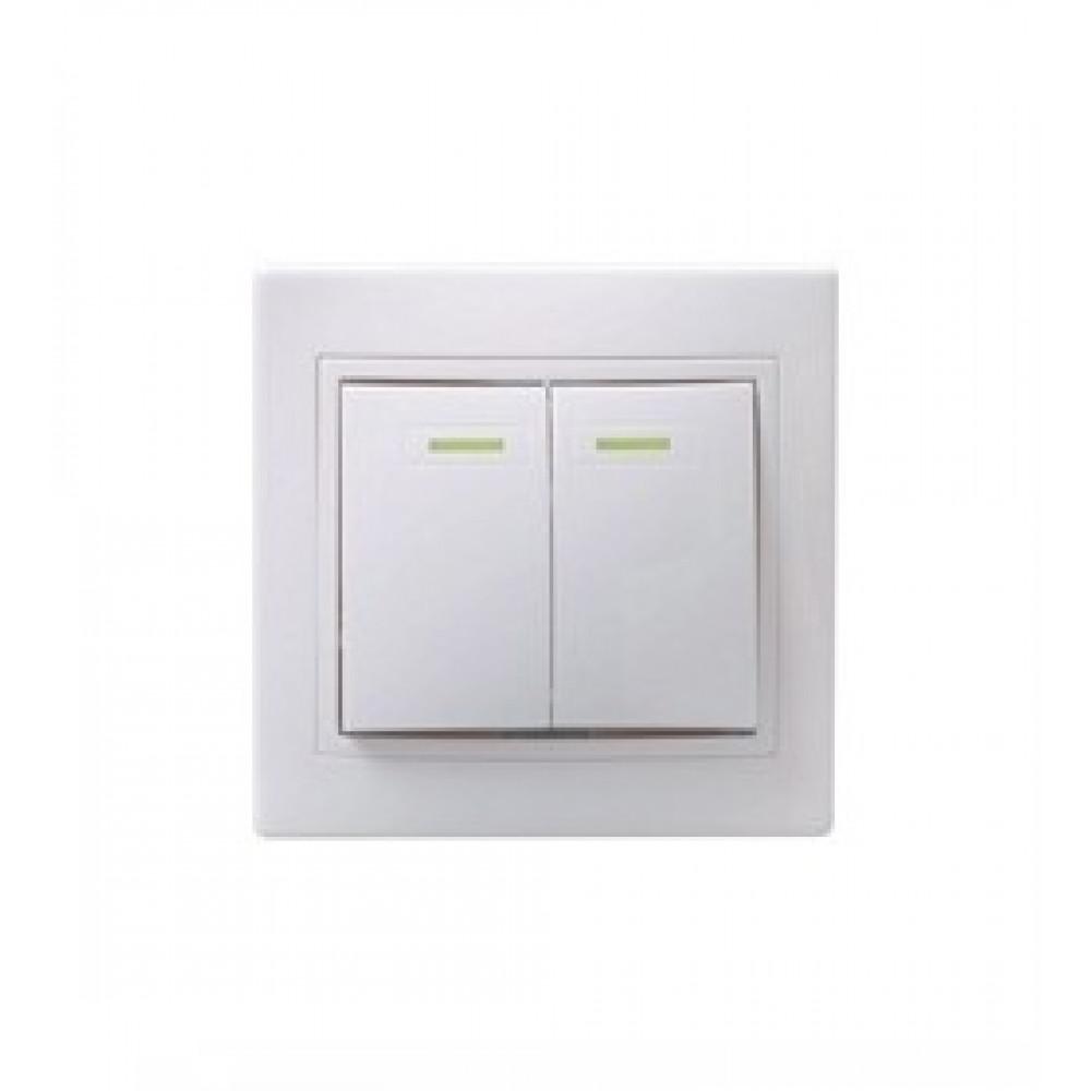 Выключатель IEK Кварта 2кл. белый подсветка (10/200)