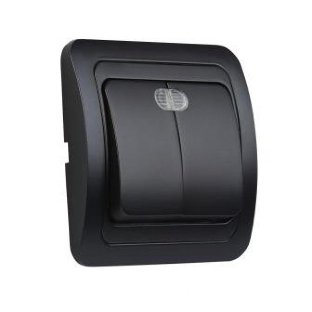 Выключатель Smartbuy Марс чёрный 2кл подсветка керамика (10/200)