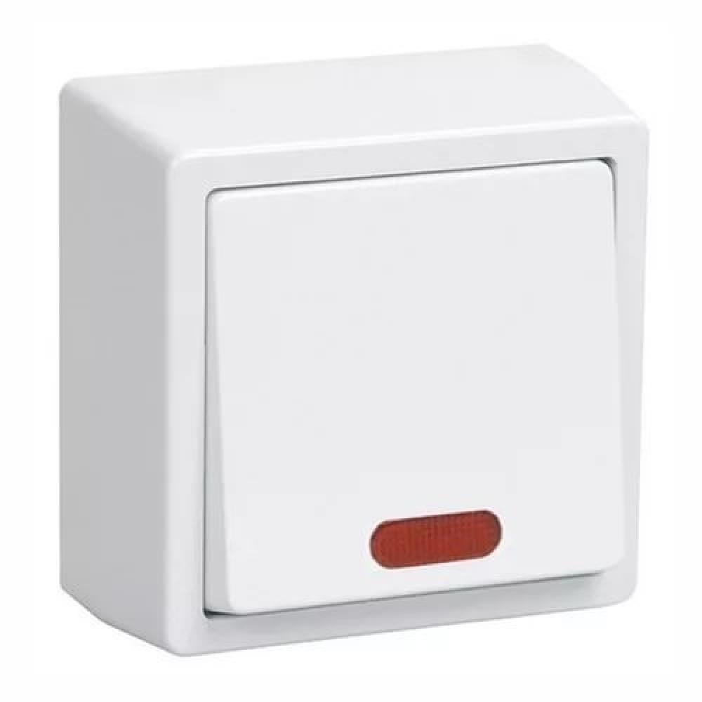 Выключатель IEK Брикс 1кл. белый подсветка (10/150)