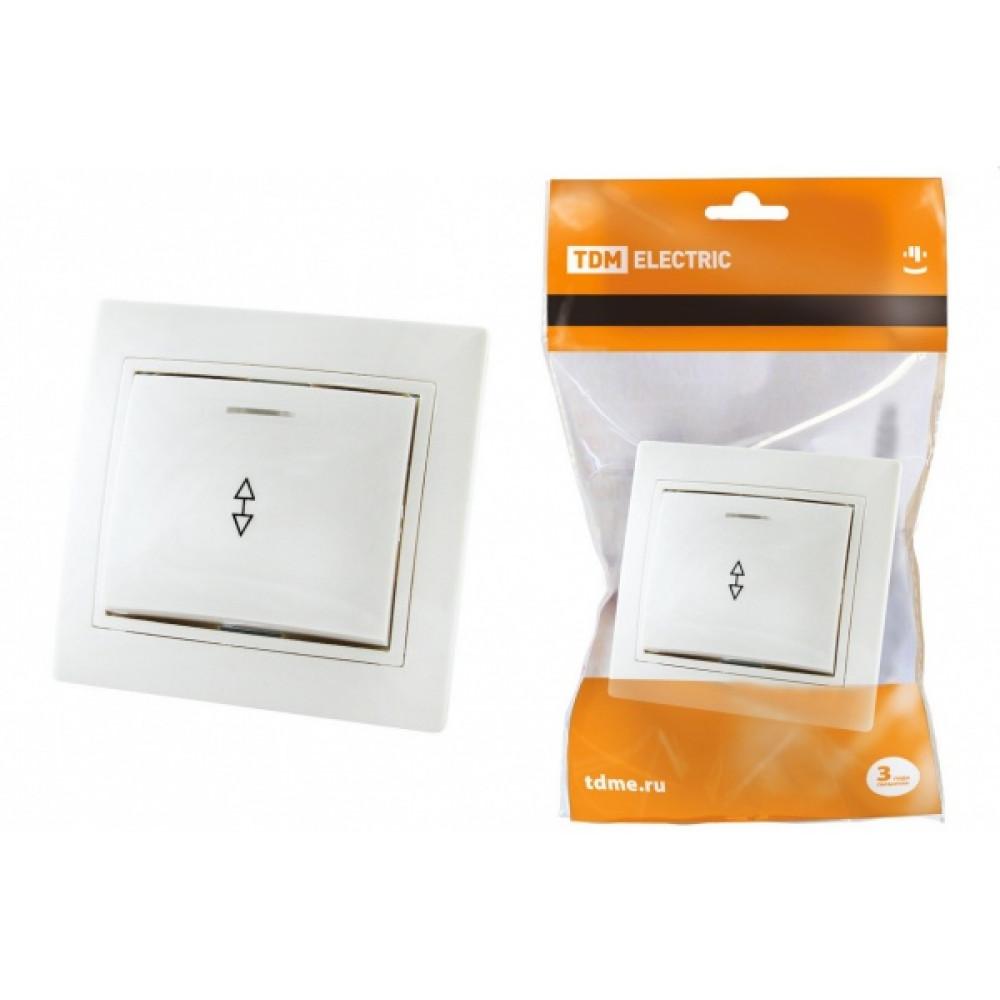 Выключатель TDM Таймыр 1кл. белый проходной с подсветкой (10/200)