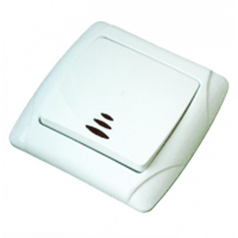 Выключатель TDM Онега 1кл. белый подсветка (10/200)