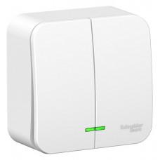 Выключатель Blanca 2-ОП 6А подсветка монтажная пластина белый (15)