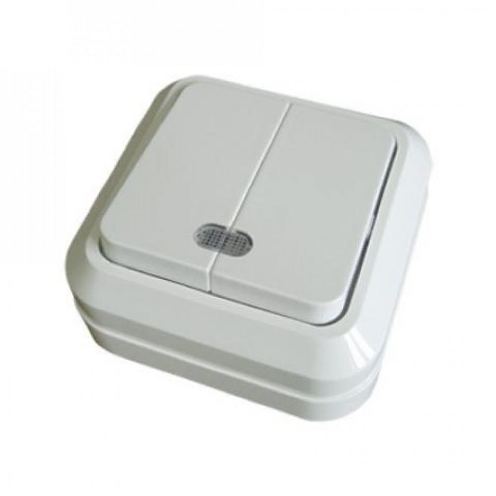 Выключатель TDM Ладога 2кл. белый подсветка (10/200)