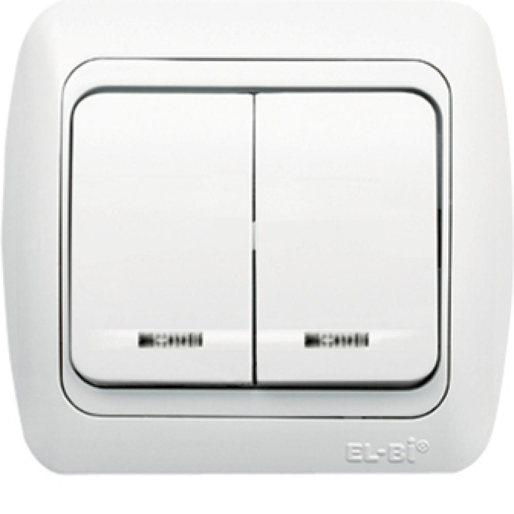 Выключатель EL-Bi TUNA 2кл. белый подсветка (10)