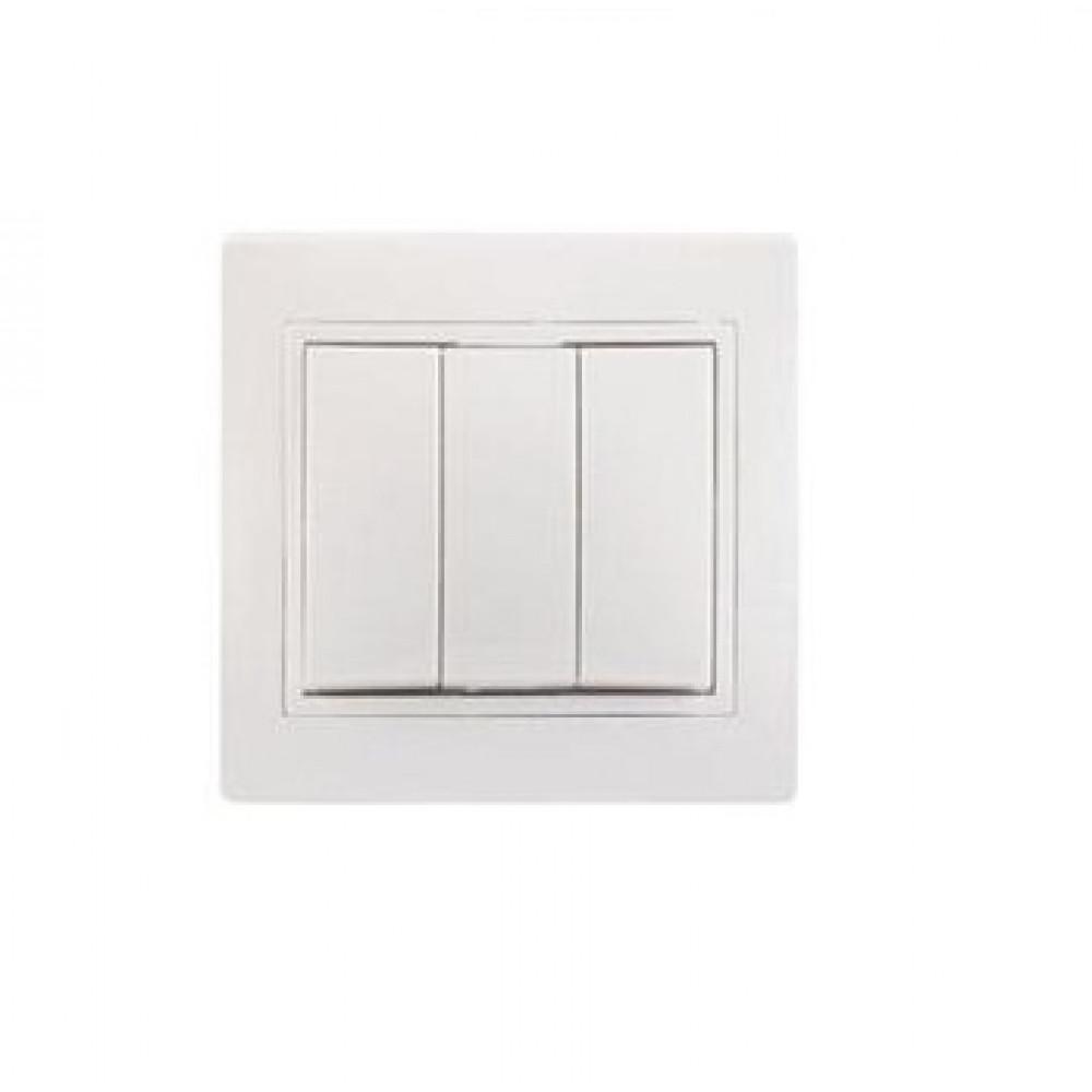 Выключатель IEK Кварта 3кл. белый (10/200)
