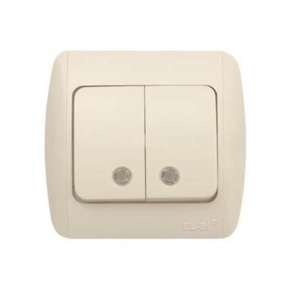 Выключатель EL-Bi TUNA 2кл. крем подсветка (10)