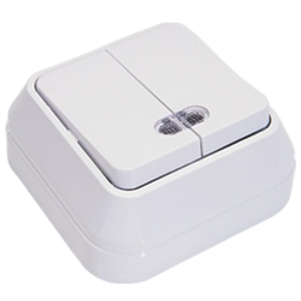 Выключатель Makel накладной 2 кл. белый подсветка (10/100)