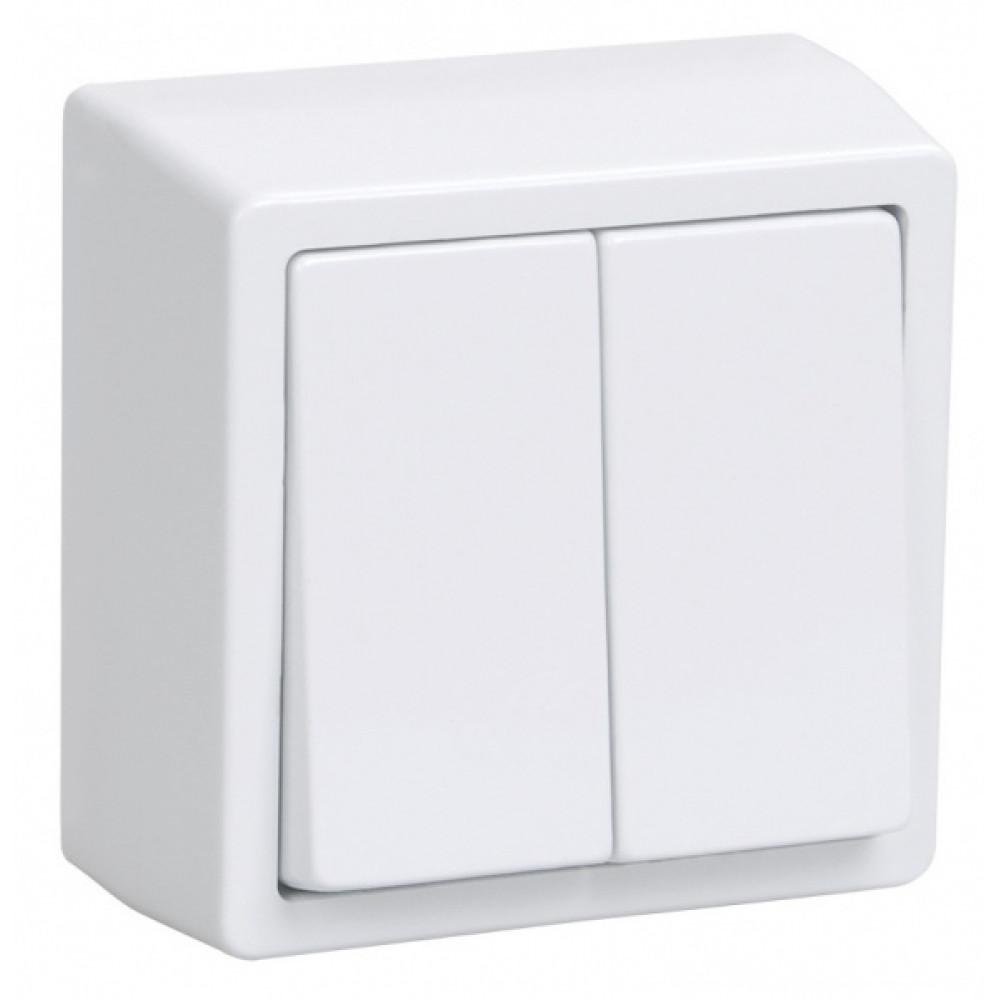 Выключатель IEK Брикс 2кл. белый (10/150)
