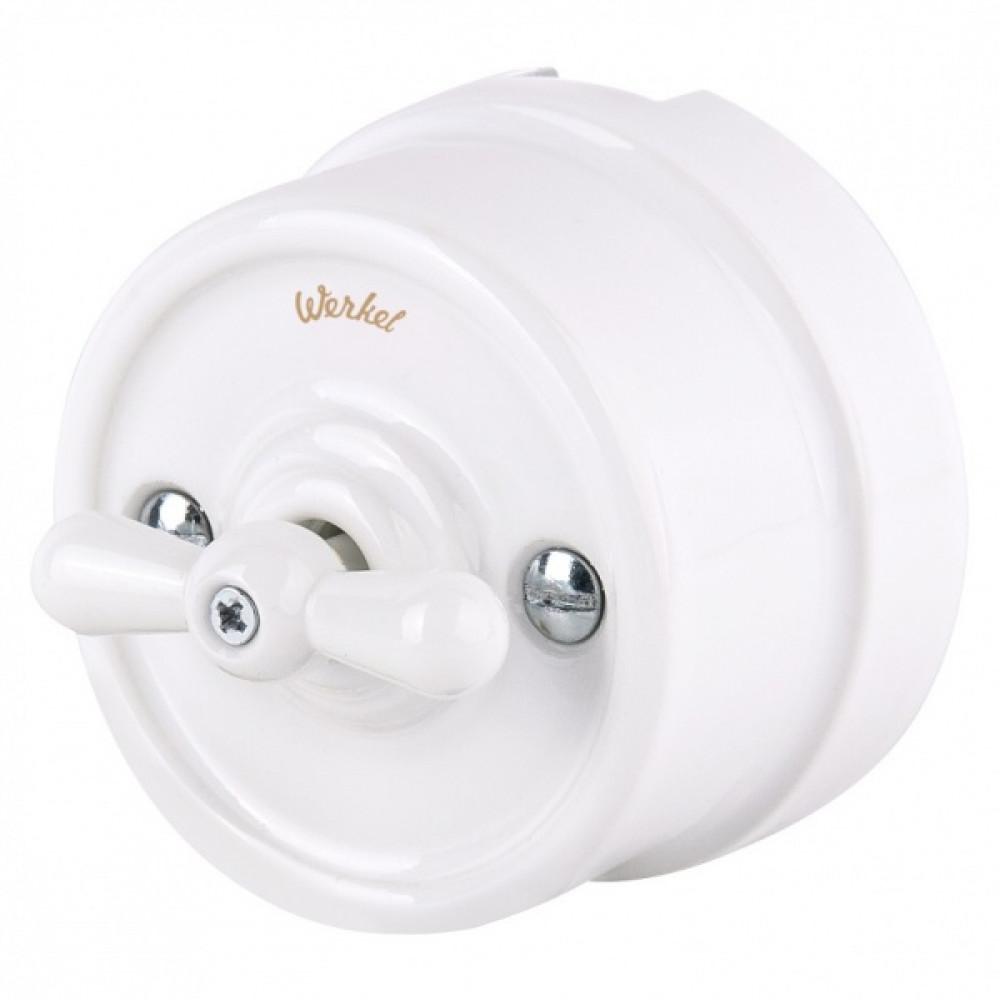 Выключатель Werkel Retro 1кл проходной белый (10)