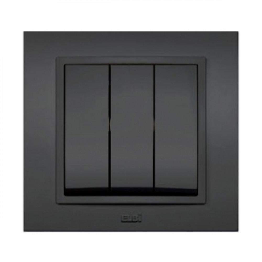 Выключатель EL-Bi Zena 3кл. черн в сборе (10)