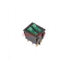 Выключатель Rexant вкл-выкл 15А подсветка двойной зеленый (10)