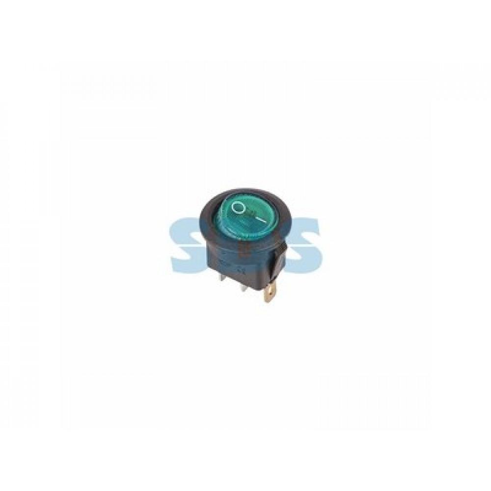 Выключатель Rexant вкл-выкл 6А подсветка круг зеленый (10)