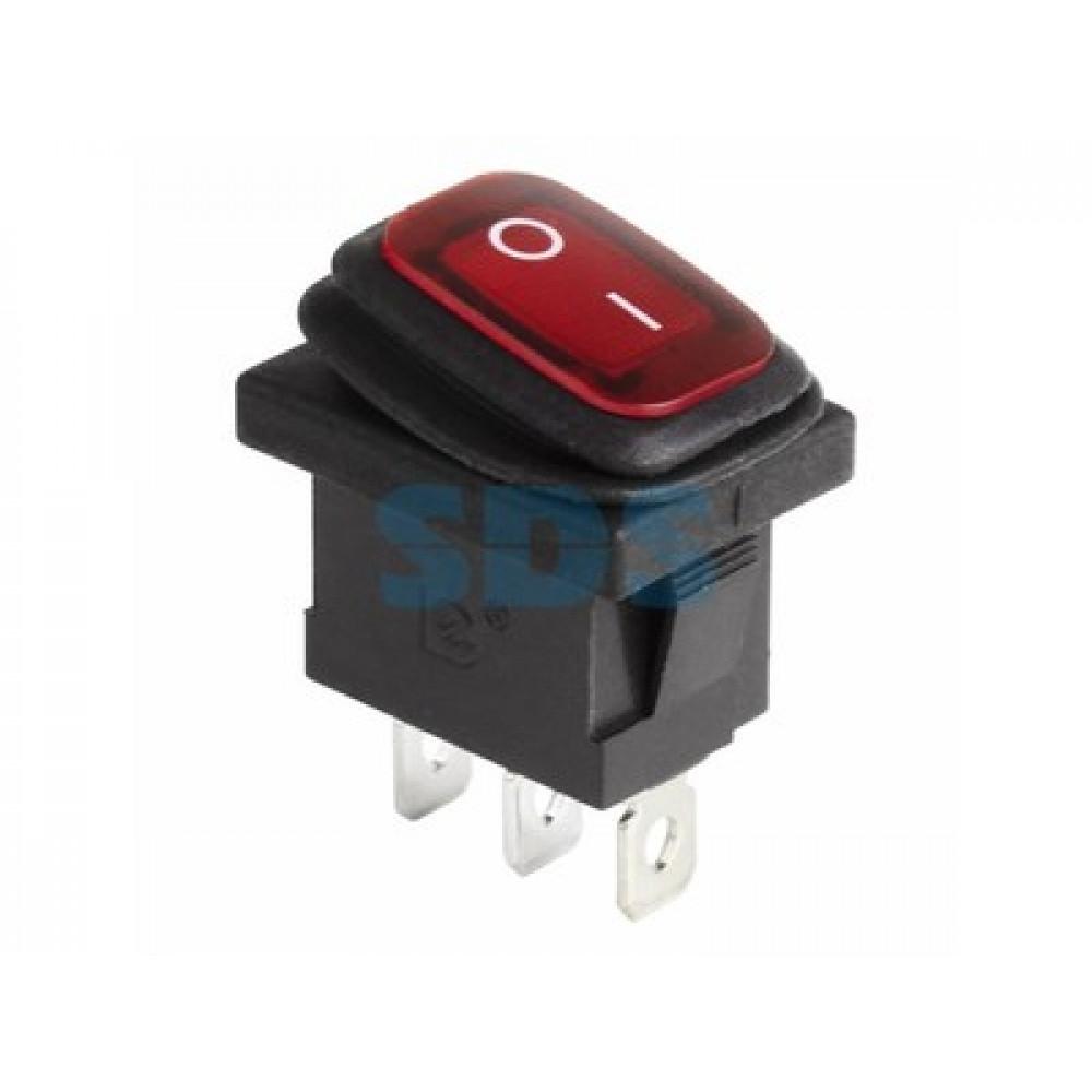 Выключатель Rexant вкл-выкл 6А мини подсветка влагозащита красный (10)