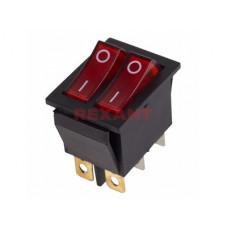 Выключатель Rexant вкл-выкл 15А подсветка двойной красный (10)