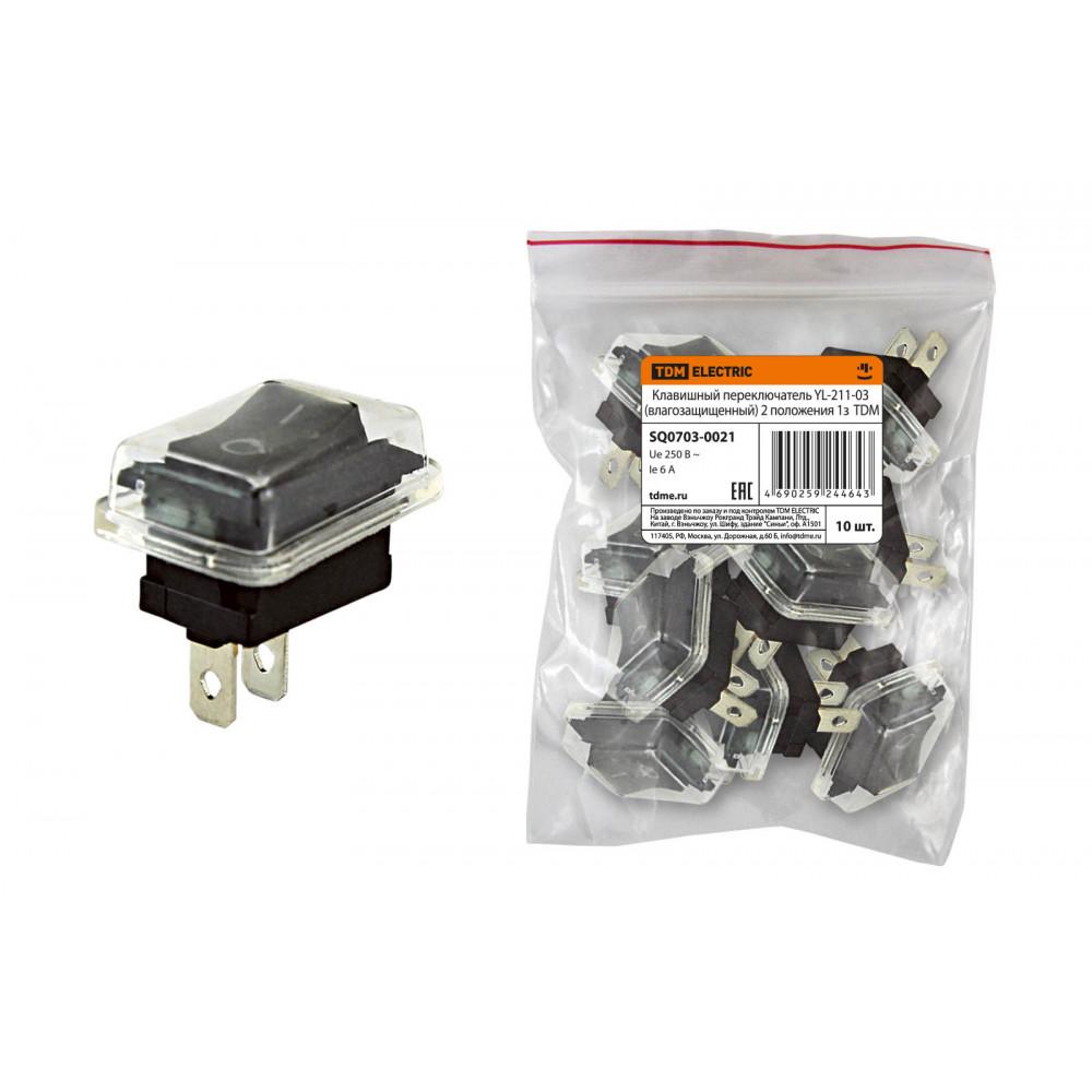 Выключатель TDM YL-211-02 1з вкл-выкл IP54 чёрный (10)