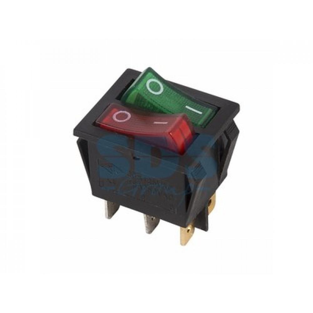 Выключатель Rexant вкл-выкл 15А подсветка двойной красный/зеленый (10)