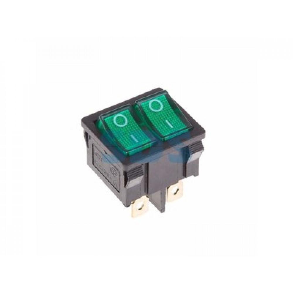Выключатель Rexant вкл-выкл 6А мини подсветка двойной зеленый (10)
