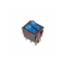 Выключатель Rexant вкл-выкл 15А подсветка двойной синий (10)