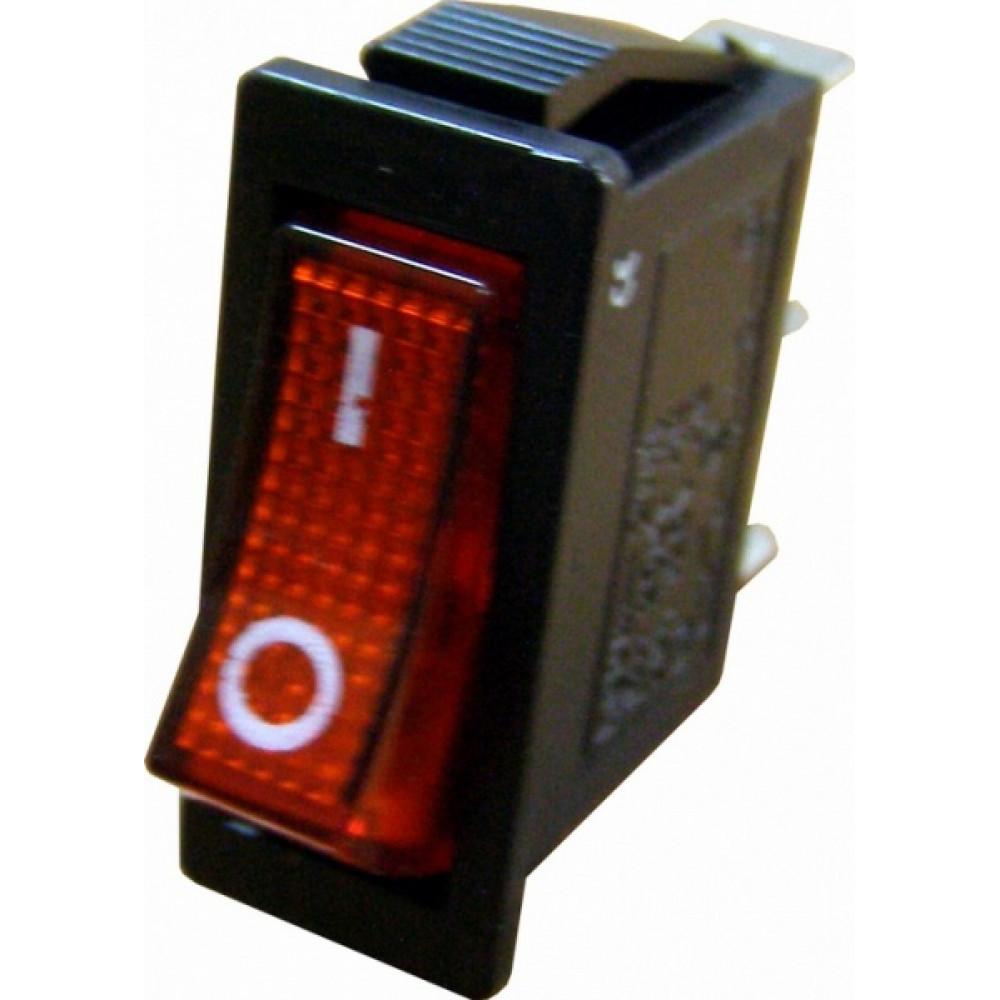Выключатель TDM YL-211-02 1з вкл-выкл красный (10)