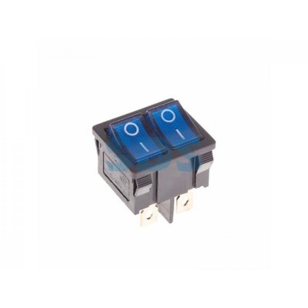 Выключатель Rexant вкл-выкл 6А мини подсветка двойной синий (10)