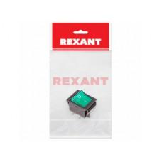 Выключатель Rexant вкл-выкл 16А подсветка зеленый 1/уп пакет (10)