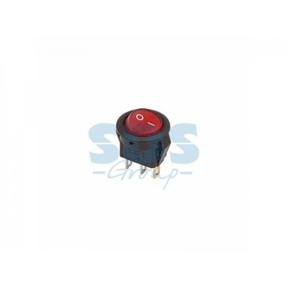 Выключатель Rexant вкл-выкл 3А подсветка круг красный (10)