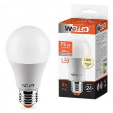 Лампа диодная A60 9Вт Е27 3000К 800Лм Wolta (50)
