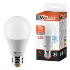 Лампа диодная A60 9Вт Е27 4000К 800Лм Wolta (50)