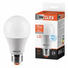 Лампа диодная A60 9Вт Е27 6500К 800Лм Wolta (50)