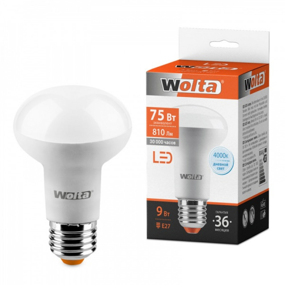 Лампа диодная R63 9Вт Е27 4000К 810Лм Wolta (10)