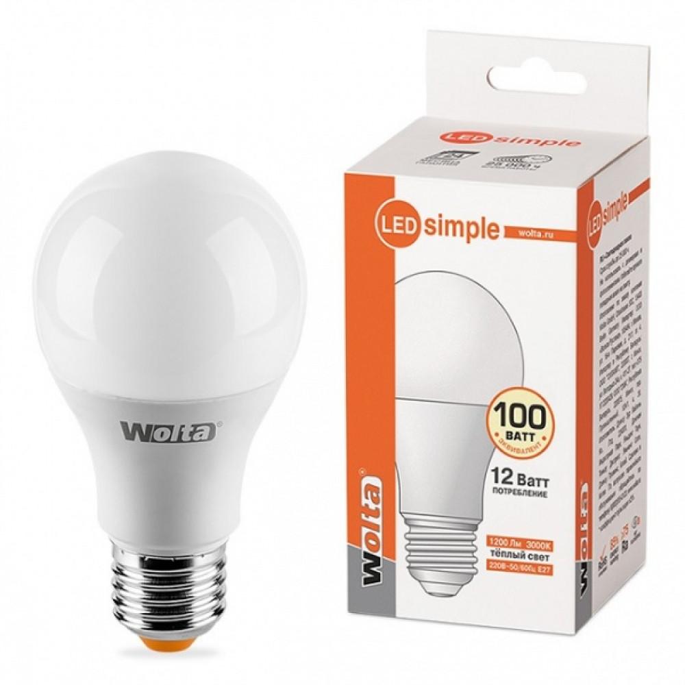 Лампа диодная A60 12Вт Е27 3000К 1200Лм Wolta Simple (50)