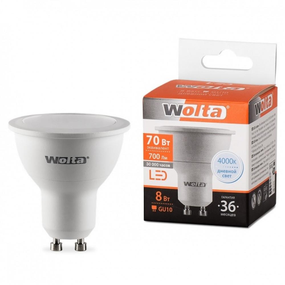 Лампа диодная MR16 GU10 8Вт 4000К 700Лм Wolta (50)