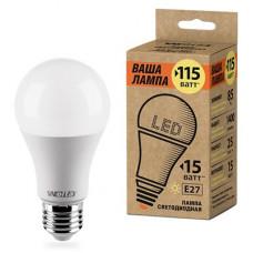 Лампа диодная A60 15Вт Е27 3000К 1400Лм Wolta Ваша лампа (50)